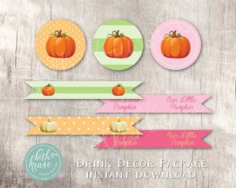 Our Little Pumpkin Drink Label INSTANT DOWNLOAD Package by Beth Kruse Custom Creations