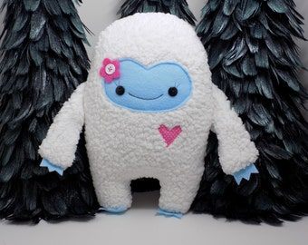 Girlie yeti plush toy in pink, girlie abominable snowman stuffed toy,  kawaii girl yeti plush doll, monster stuffed animal, girlie monster