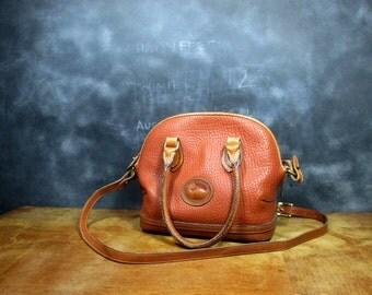 Vintage Leather Dooney and Bourke Handbag - 1980s Crossbody Purse - Made in USA - Vintage All Weather Leather Bag - Burnt Sienna Messenger