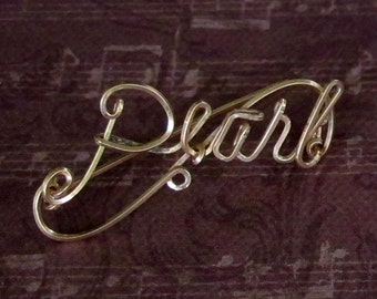 Vintage Wire Name Pin - Pearl