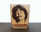 Mick Jagger Wood Desk Plaque  Hand Cut Scroll Saw
