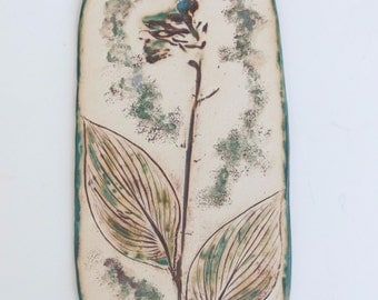 Hosta Ceramic Wall Hanging Organic Earthy Home Decor Flower Imprint Clay Wall Art Rustic Pottery Wall Accent