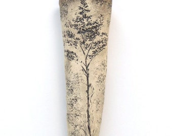 Weed Imprint Ceramic Wall Pocket Earthy Clay Wall Hanging Rustic Goldenrod Home Decor Organic Pottery Wildflower Wall Vase