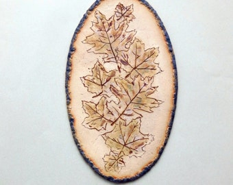 Ceramic Leaves Wall Hanging Organic Clay Art Earthy Rustic Picture Earth Tone Hand Built Wall Art Home Decor