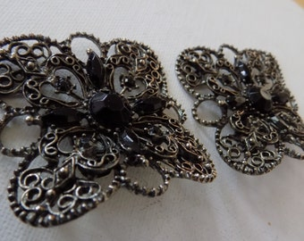 "Vintage retro black crystal and filigree dramatic shoe clips signed ""MUSI"", 1950's accessories"