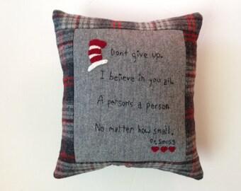 Dr Seuss Quote Saying Embroidery Pillow Primitive Folk Art JKB