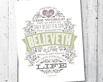 Scripture Bible Print, Christian Typography Print, Inspirational Art Print // 11x14 // JOHN 3:16