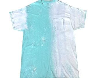 XL Turquoise Handpainted T-shirt, ComFeeTee with Turquoise light blue and white - FREE SHIPPING