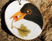Blackbird and Berry Wooden Pendant