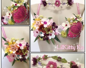 Elli Belle - Flower fairy bra with matching flower crown