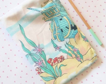 The Little Mermaid vintage style upcycled zipper topped bag featuring a sunken ship pencil bag