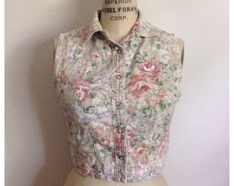 Vintage 90s button up floral sleeveless top