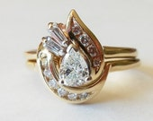Vintage Diamond 14k Wedding Ring Set Contoured Pear Shape Sz 6 1/2 - Appraised