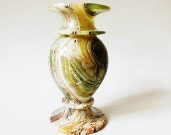 """Marble Vase Green and Brown Onyx 8"""" Vintage"""