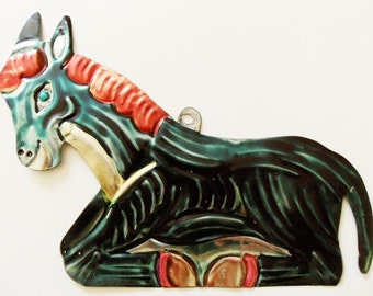 Tin Donkey Burro Ornament Punched Hand Painted Vintage Mexican Folk Art