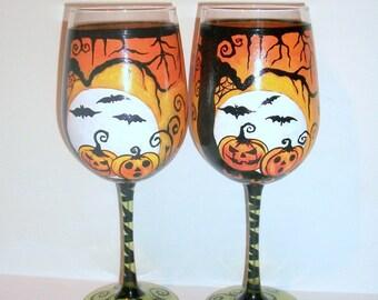 Halloween Handpainted wine Glasses Haunted Cemetery Bats Moon Owl Spooky Tree Spiders Jack-o-laturns Set of 2- 20z. Green Stem Wine Glasses