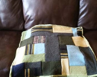 Furniture Pet Cover made from Repurposed Felted Wool Sweaters; Made to Order, Patchwork Quilt in Your Favorite Colors