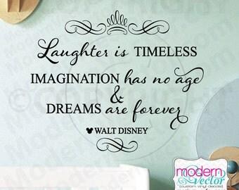 Disney Laughter Imagination Dreams Quote Vinyl Wall Decal Lettering Nursery MV22 Flourish Design