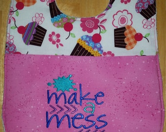 "3 Pack Embroidered ""MAKE A MESS"" Bib"