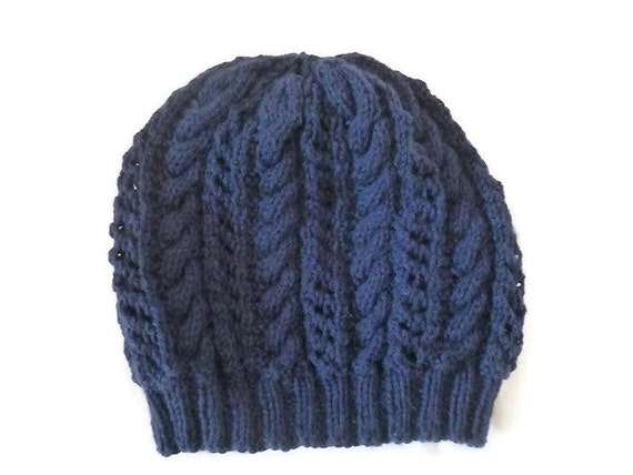 womens wool hat cable knit hat navy blue beanie by