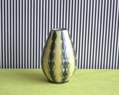 Mid Century Modern  Scandinavian STUDIO Pottery Vase in Pale Yellow and Dark Green