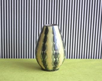 Mid Century Modern  Scandinavian STUDIO Pottery Vase in Pale Yellow and Dark Green