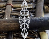 10 pcs of Antiqued Silver brass filigree sheets 16x57mm,filigree beads findings