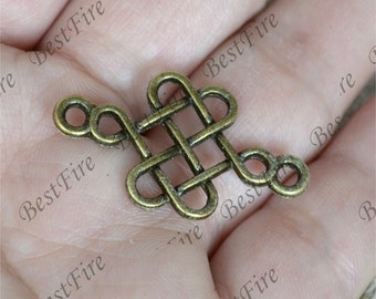20 PCS Of 18x31MM Celtic Knot Connector Charms Antique Bronze Tone 2 Sided ,pendant beads,Double on Branch Connectors,jewelry findings