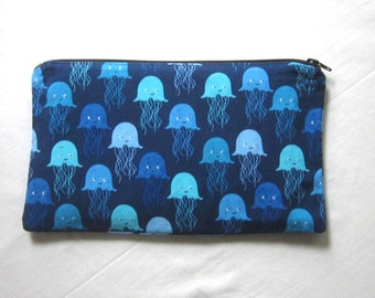 Happy Jellyfish Fabric Zipper Pouch / Pencil Case / Make Up Bag / Gadget Pouch