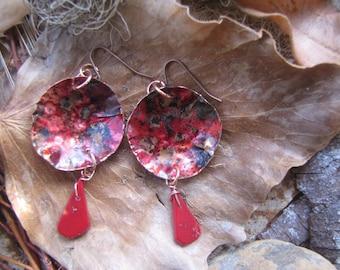 Beautiful colored copper earrings