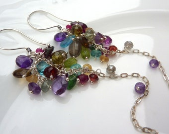 Handmade Colorful Gemstone Earrings. Cluster. Long Dangly Chandelier Chain Earrings in Sterling Silver.