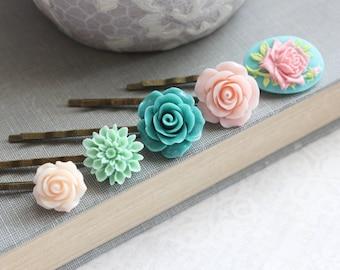 Aqua Flower Bobby Pins Blush Pink Floral Hair Accessories Girls Hair Pins Bridesmaids Gift Set of Five(5) Mint Dahlia Teal Rose Cameo Clips