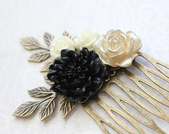 Black Bridal Comb Chrysanthemum Flower Hair Comb Gold Rose Comb Black and Gold Wedding Christmas Accessories Party Fashion Branch Hair Comb