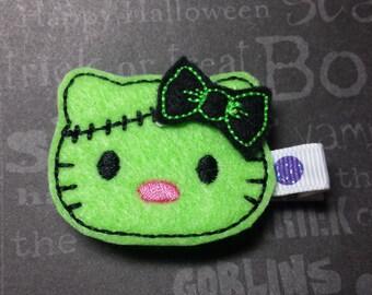 """Halloween Felt Hair Clip """"Franken Kitty II""""  - For Infant Toddler Girl"""