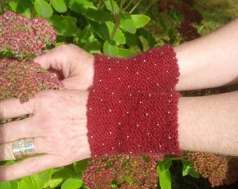 SALE! 15% Off-Wrist Warmers, Wristers, Fingerless Gloves-Hand HandKnit with Gold Beads