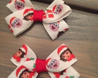 Set of 2 DORA Christmas Hair Clips - FREE SHIPPING
