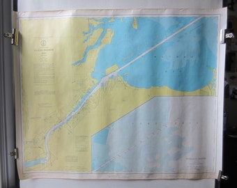 "Vintage Map Toledo Harbor - Lake Erie - Maumee Bay - Great Lakes - US Army US Lake Survey- Yellow &  Blue 1973 - No. 374 - 40"" x 30"""
