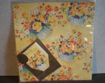 Vintage Unused Wrapping Paper And Matching Card - Sunshine Shower