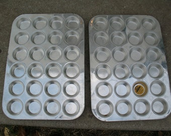 Two Professional CHICAGO METALLIC Mini Muffin Pans 24-Cup Heavy Duty Tinned Steel