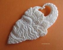Hanoman Hanuman Carved Bone Cabochon 65mm - Hindu Monkey General