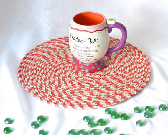 """Red Holiday Decoration, Candy Cane Place Mat, Handmade Christmas Hot Pad,  12"""" Trivet, Table Mat, Lovely Christmas Decoration"""