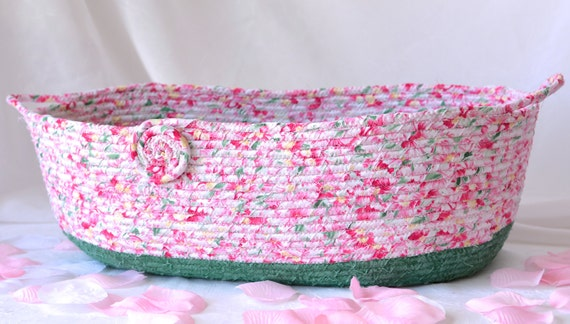 Shabby Chic Basket, Magazine Rack, Handmade Pink Floral Basket, Pink Shower Gift Basket, Family Room Decor, Pretty Pink Storage Organizer