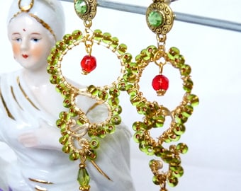 SALE!! Land of the Kiings Green & Gold Chandelier Earrings SALE!!