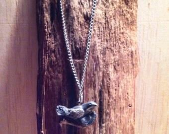 Mama bird necklace. Bird in a branch necklace. Polymer clay pendant