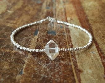 Herkimer Diamond Bracelet Beaded Bracelets Raw Crystal Womens Gift Herkimer Bracelet Smoky Quartz Boho Bracelet Girlfriend Gift Boho jewelry