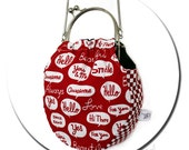 Round Metal Purse Frame Shoulder Bag - Pop Words Checkerboard