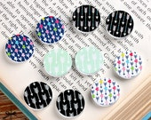10PCS (5 pairs) 16mm 20mm  Round Handmade Image  Wood Cut Cabochon - (WEH-MIXSS-18)