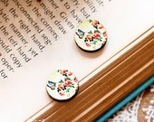 20% off - NEW Unique 3D Embossed Flowers  16mm Round Handmade Wood Cut Cabochon to make Rings, Earrings, Necklaces, Bracelets-(WG-331)