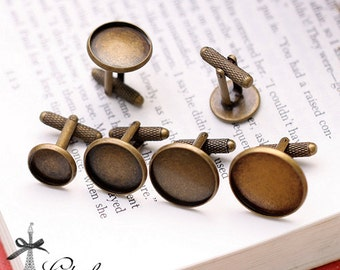 10pcs 12mm 14mm 16mm 18mm 20mm vintage Antiqued Bronze brass round Cuff Links sleeve button cuff link tray blank setting (CUL-7-11)