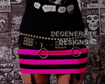 Hot Pink and Black Striped PUNK Skirt Punk Rock Clothing Rock n Roll Mini Skirt 80s Rocker Glam Rock Hair Metal Rave Clothing edm XS - XXL